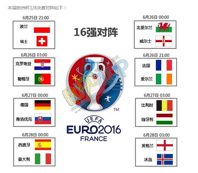 法国欧洲杯16强对阵表 1/8决赛比赛时间